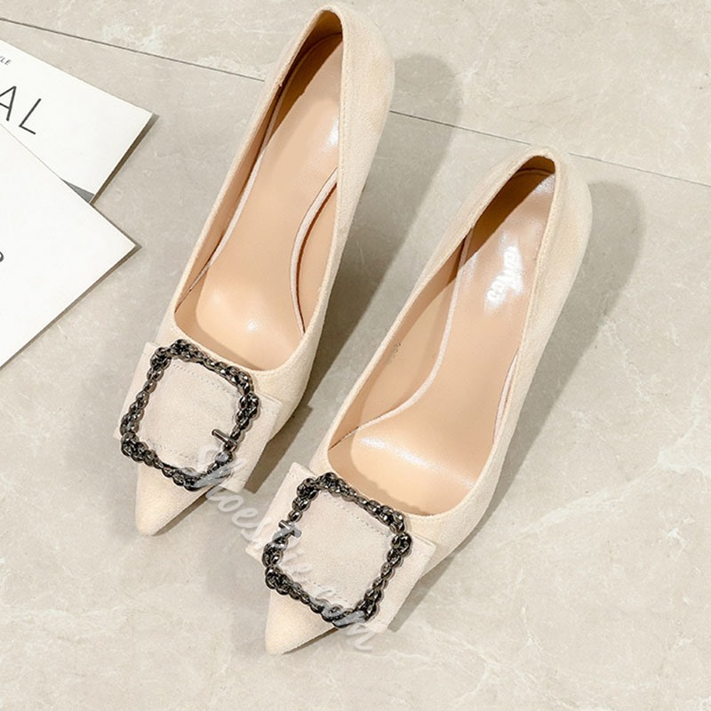 Shoespie Stylish Pointed Toe Slip-On Thread Banquet Thin Shoes