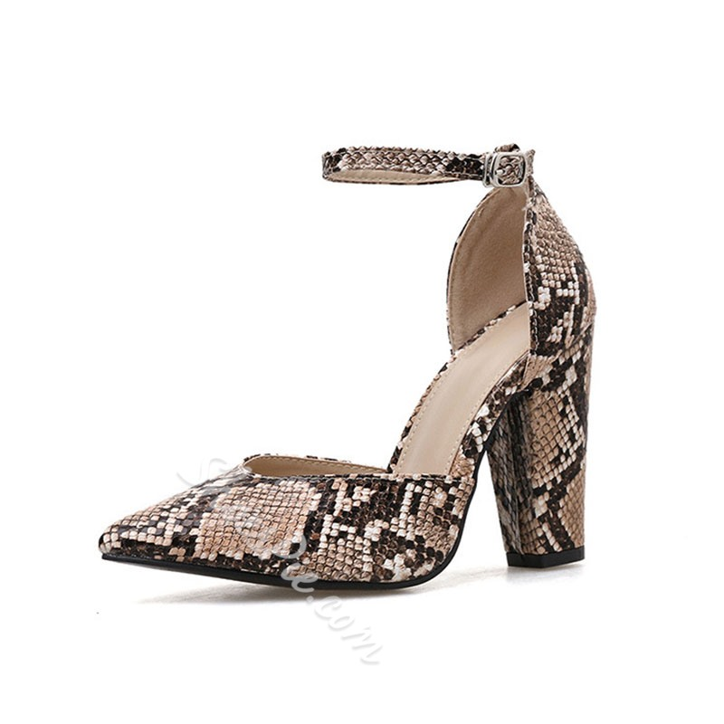 Shoespie Trendy Chunky Heel Line-Style Buckle Pointed Toe Low-Cut Upper Thin Shoes