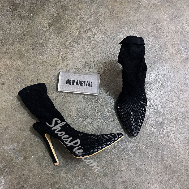 Shoespie Sexy Pointed Toe Hasp Color Block Western Boots