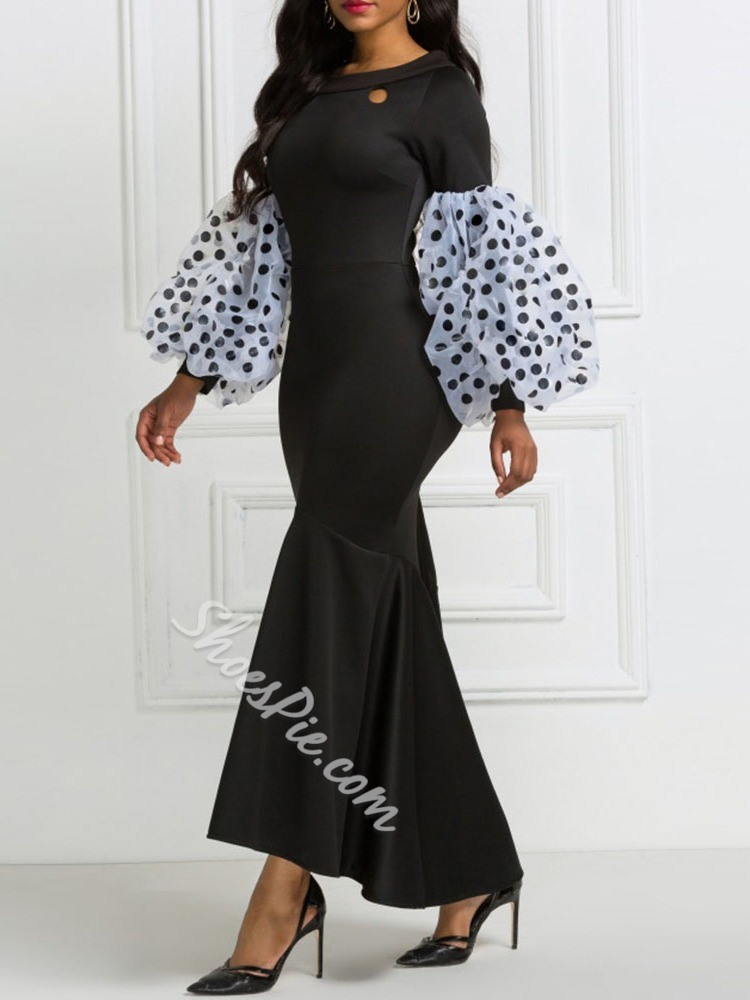 Mermaid Lantern Sleeve Floor-Length Hollow Polka Dots Women's Dress