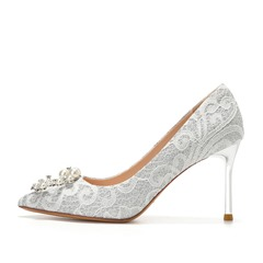 Shoespie Trendy Stiletto Heel Pointed Toe Beads Princess Thin Shoes