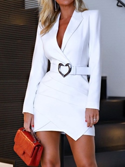 Casual Notched Lapel Long Sleeve Above Knee Pleated Women's Dress