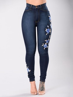 Casual Embroidery Floral Zipper Pencil Pants Women's Jeans
