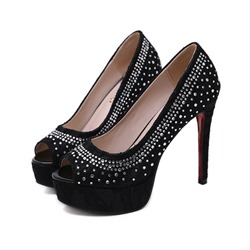 Shoespie Sexy Peep Toe Rhinestone Slip-On Low-Cut Upper Thin Shoes
