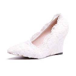Shoespie Trendy Lace Pointed Toe Wedge Heel Plain Thin Shoes