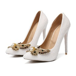 Shoespie Stylish Stiletto Heel Rhinestone Pointed Toe Wedding Bridal Shoes