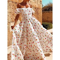 Sweet Floral Print Off Shoulder High Waist Floor-Length Women's Dress