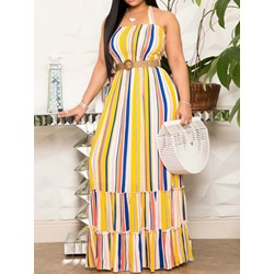 Casual Stripe Sleeveless Floor-Length Backless Pleated Halter Women's Dress