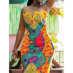 Yellow Strapless Stylish Print Sleeveless Above Knee Bodycon Women's Dress