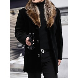 Mid-Length Patchwork Notched Lapel Single-Breasted Casual Coat