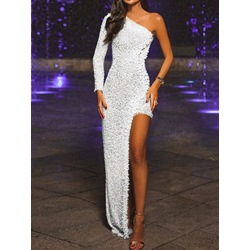 Elegant Silver Oblique Collar Asymmetric Floor-Length One-Shoulder Women's Dress