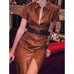 Stylish Short Sleeve Lapel Belt Single-Breasted Women's Dress