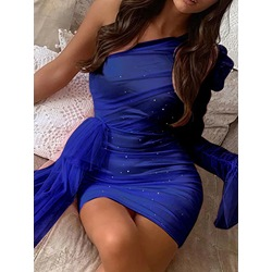 Party Mesh Sequins One Shoulder Long Sleeve Oblique Collar Women's Dress
