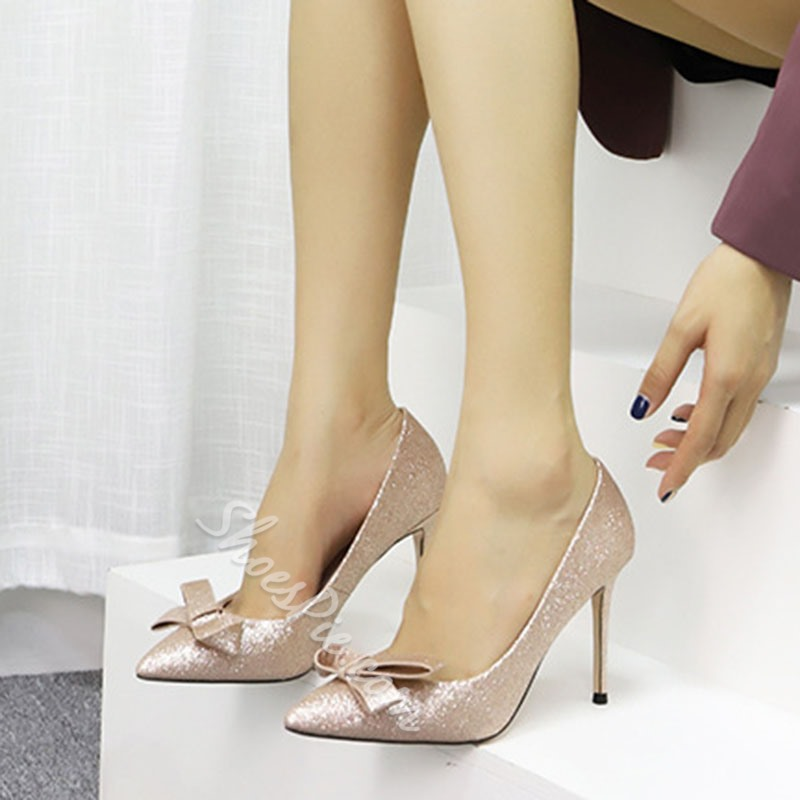 Shoespie Sexy Bow Stiletto Heel Pointed Toe Plain Thin Shoes