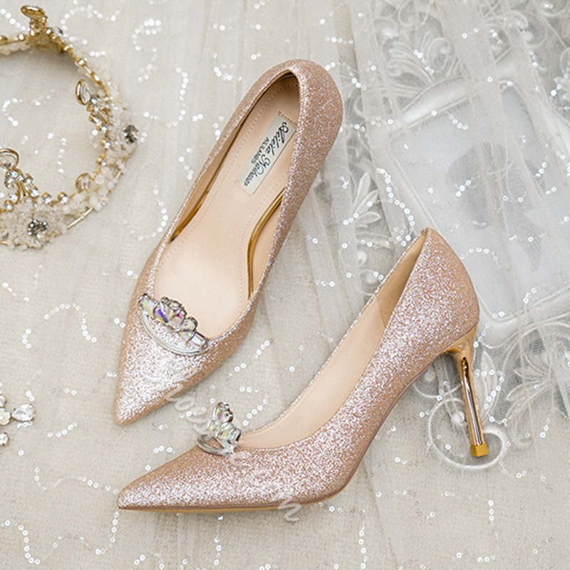 Shoespie Stylish Rhinestone Pointed Toe Slip-On Plain Thin Shoes