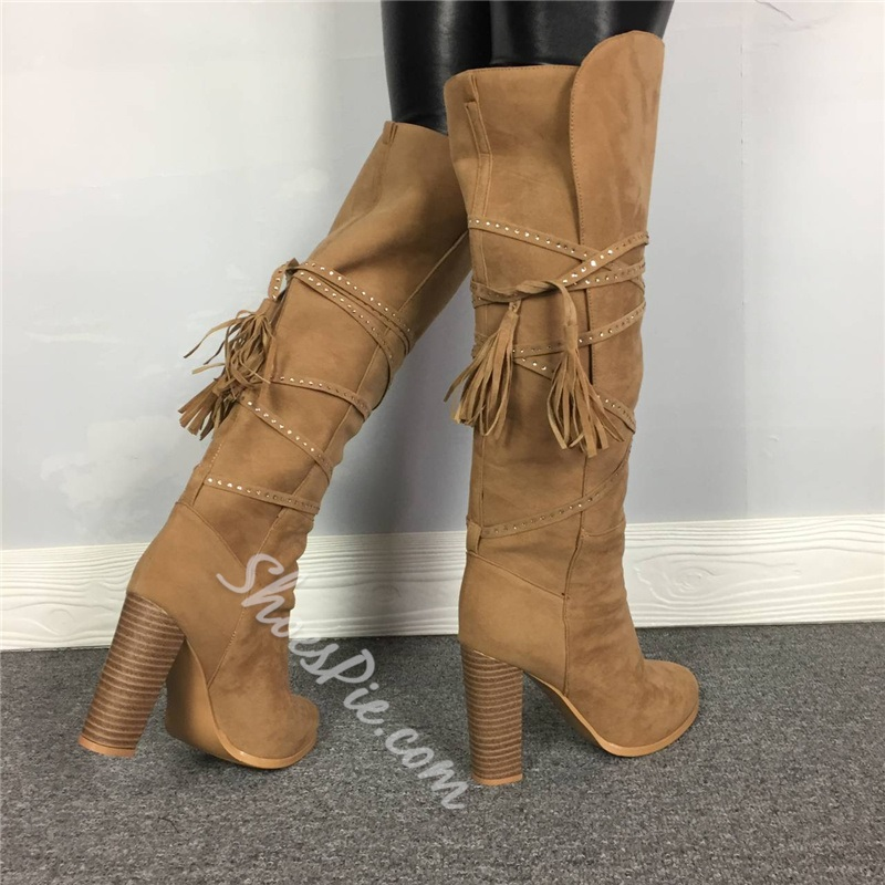 Shoespie Trendy Plain Lace-Up Back Chunky Heel Suede Boots