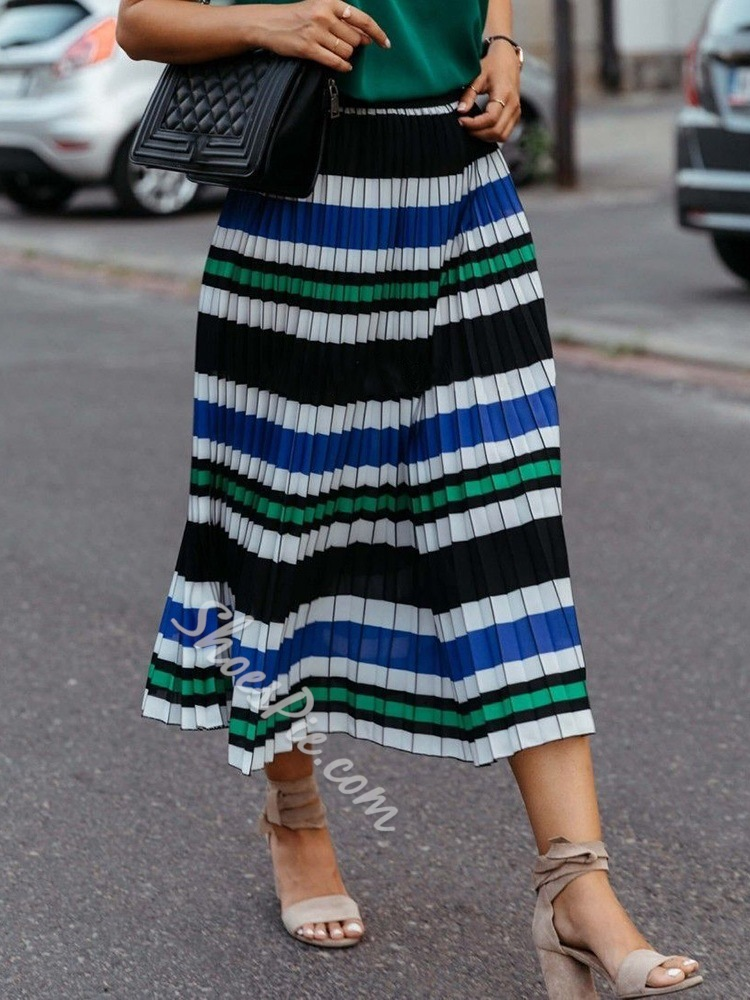 Casual Stripe Pleated Mid-Calf Travel Look Women's Skirt