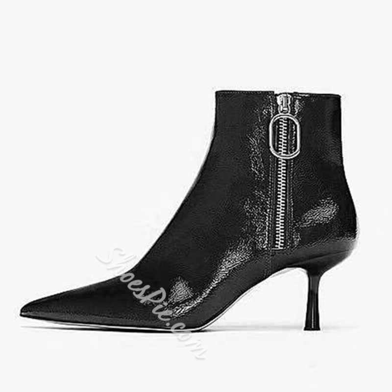 Shoespie Stylish Pointed Toe Side Zipper Western Ankle Boots