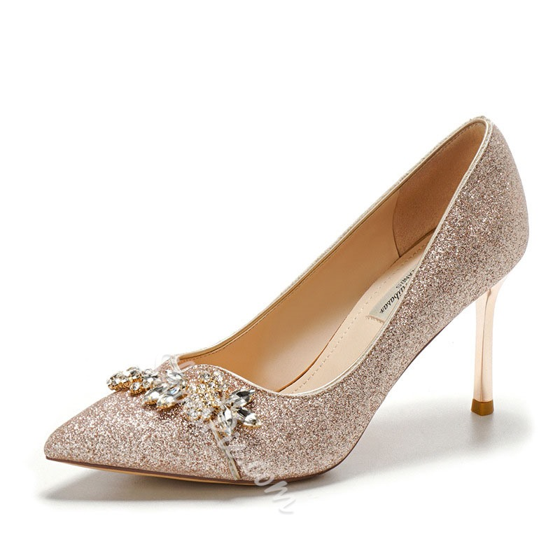 Shoespie Stylish Thread Pointed Toe Stiletto Heel Princess Thin Shoes