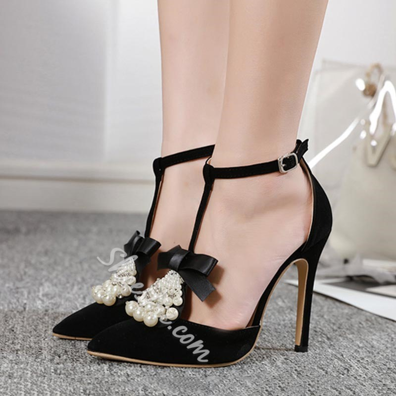 Shoespie Stylish Beads T-Shaped Buckle Stiletto Heel Korean Thin Shoes