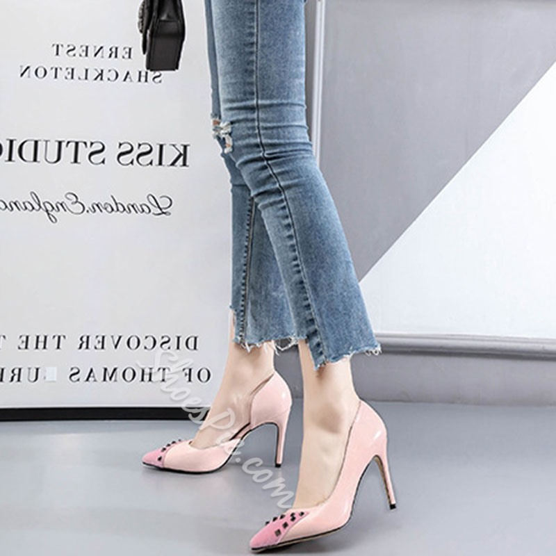 Shoespie Sexy Rivet Pointed Toe Slip-On Ultra-High Heel(≥8cm) Thin Shoes