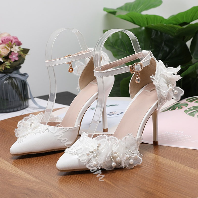 Shoespie Stylish Line-Style Buckle Thread Pointed Toe Color Block Thin Shoes