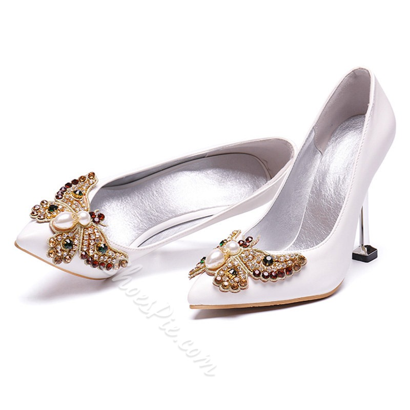 Shoespie Sexy Slip-On Pointed Toe Bow Low-Cut Upper Bridal Shoes
