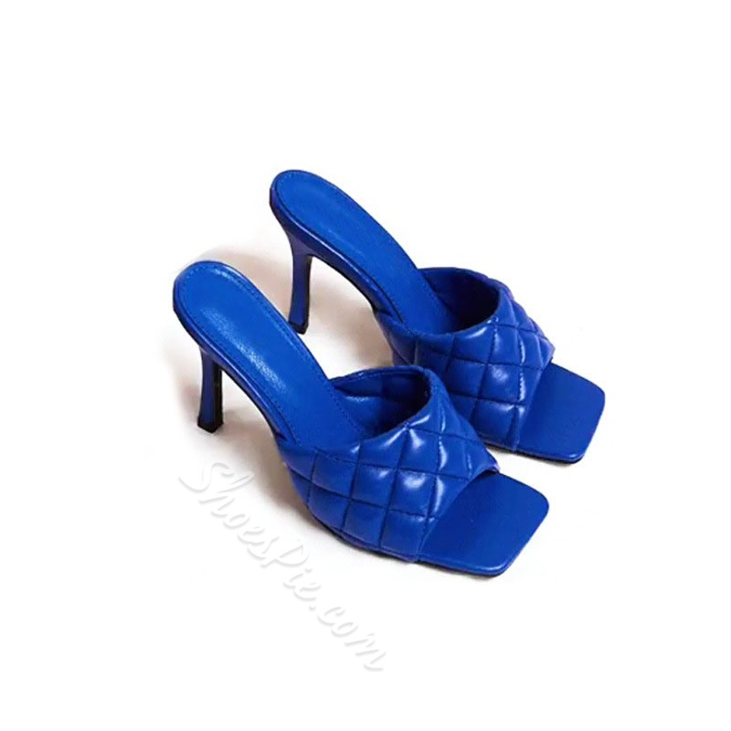 Shoespie Sexy Slip-On Stiletto Heel PU Slippers