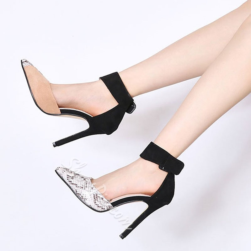 Shoespie Stylish Velcro Pointed Toe Thread Color Block Thin Shoes