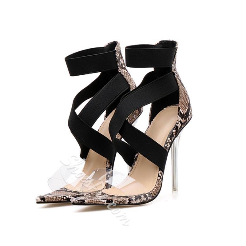 Shoespie Stylish Heel Covering Open Toe Elastic Band Serpentine Sandals