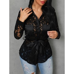 Black Sexy Lace Single-Breasted Pocket Women's Blouse