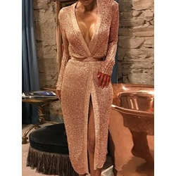 Sexy V-Neck Rose Gold Long Sleeve Party Bodycon Women's Dress