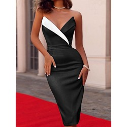 Sexy Black Strapless Mid-Calf Patchwork Bodycon Women's Dress