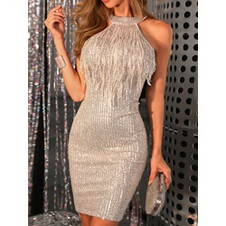 Party Tassel Sequins Sleeveless Above Knee Halter Women's Dress