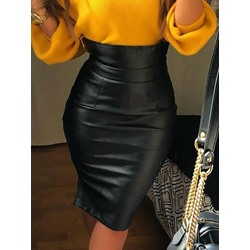 Black Casual Bodycon Mid-Calf Western Women's Skirt