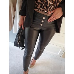 Black Skinny Button Plain Ankle Length Women's Casual Pants