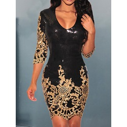 Elegant Sequins Print Three-Quarter Sleeve V-Neck Women's Dress