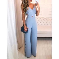V-Neck Hollow Button Western Full Length Loose Women's Jumpsuit