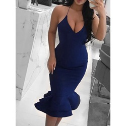 Blue Spaghetti Strap V-Neck Sleeveless Falbala High Waist Mermaid Women's Dress