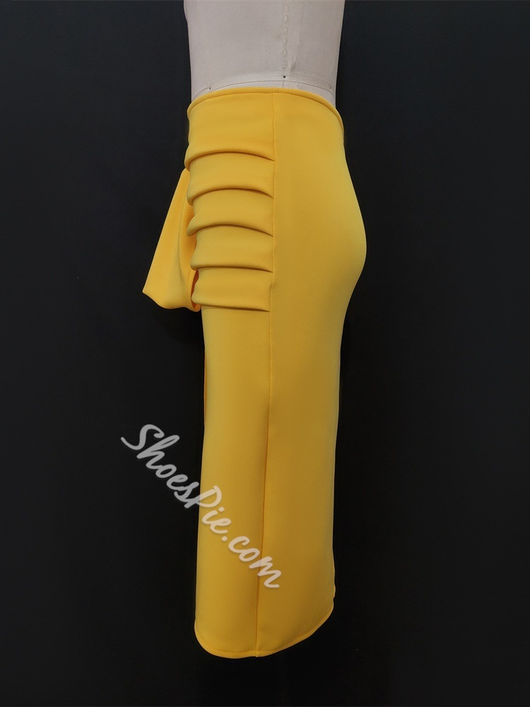 Yellow Pleated Zipper Women's Pencil Skirt