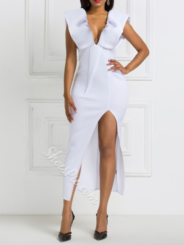 White V-Neck Backless Falbala Split Women's Dress