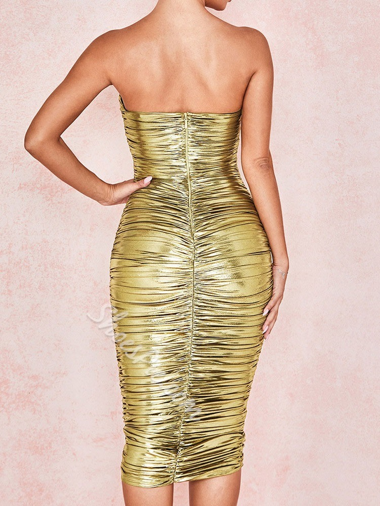 Golden Strapless Pleated Sleeveless Bodycon Mid Waist Women's Dress
