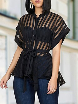 Black See-Through Mesh Single-Breasted Women's Blouse