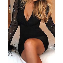Sexy Black Long Sleeve Mesh Feather V-Neck Bodycon Women's Dress