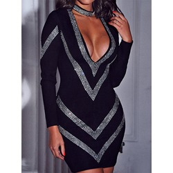Sexy Black Rhinestone V-Neck Long Sleeve Bodaycon Women's Dress