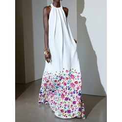 Floral Print Sleeveless Floor-Length Sweet Halter Women's Dress