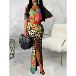 Shoespie Off Shoulder Split Floor-Length Leopard Print Women's Dress