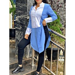 Blue Stylish Color Block Long Sleeve Single-Breasted Women's Blouse