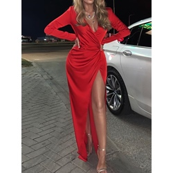 Red V-Neck Split Floor-Length Long Sleeve Pleated Bodycon Women's Dress