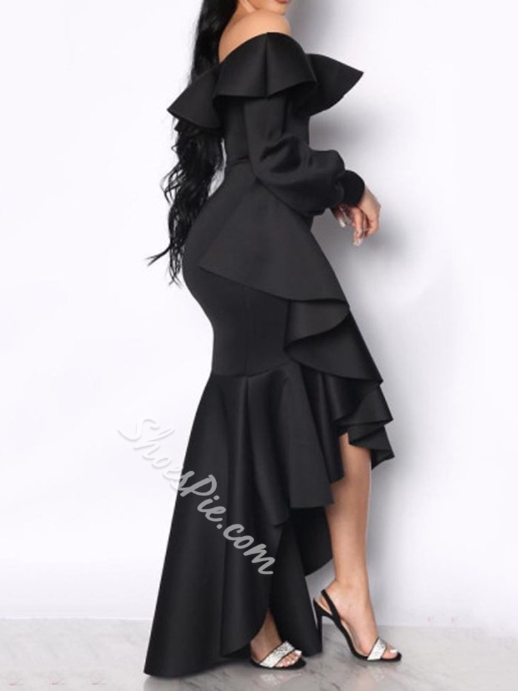 Black Elegant Off Shoulder Pleated Floor-Length Asymmetric Women's Dress